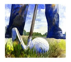 Fine Art Print - Watercolor Golf Painting Giclee of Golfer by Andrew King Golf Artwork Inspiration Watercolor Canvas, Watercolor Paintings, Canvas Art, Canvas Prints, Watercolors, Golf Painting, Sports Painting, Golf Art, Sports Art