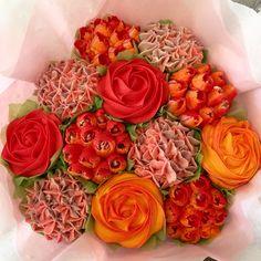 Red and Orange cupcake bouquet Orange Cupcakes, Love Cupcakes, Wedding Cakes With Cupcakes, Vanilla Cupcakes, Party Cakes, Cupcake Cakes, Cupcake Bouquets, Beautiful Cupcakes, Freshly Baked