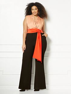 Shop Eva Mendes Collection - Chalina Colorblock Jumpsuit - Plus Size Fashion for Women - Ad Big Girl Fashion, Curvy Fashion, High Fashion, Style Fashion, Plus Size Fashion For Women, Plus Size Women, Eva Mendes Collection, Plus Size Jumpsuit, Plus Size Designers