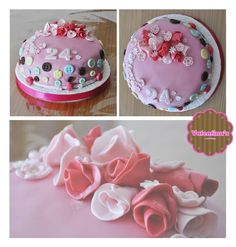 "Tarta Personalizada ""Flores"" #tarta #cake #flower #flores #pink #rosa #botones #fondant #postre"