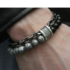 mens jewelry Trendsmax Natural Map Stone Mens Beaded Bracelet for women Stainless Steel Bracelets Male Jewelry Tiger eye 8 9 10 inch Lapis Lazuli, Beaded Jewelry, Silver Jewelry, Male Jewelry, Men's Jewelry, Silver Ring, Cartier Jewelry, Jewelry Holder, Handmade Jewelry