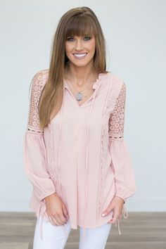 Shop our Lace Detail Tie Top Blouse - Soft Pink. Pairs perfectly with a pair of skinny jeans. Free shipping on all US orders.