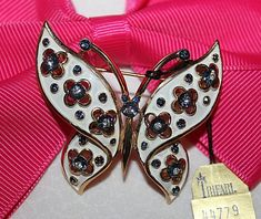 EXQUISITE CROWN TRIFARI SIGNED ENAMEL BUTTERFLY PIN WITH ORIGINAL BAG AND TAG  | eBay