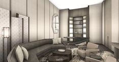 Yabu Pushelberg, Sales Office, Guest Room, Lounge, Couch, Interior Design, Dining, Living Room, Wall
