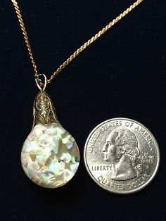 RARE Horace Welch 14k Gold Floating Opal Pendant 6 27 22 Prize Necklace 1 5"