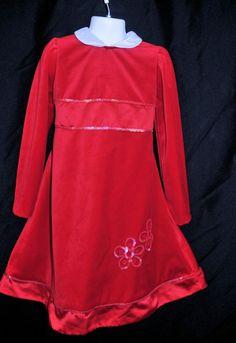 Little Bitty Girls Size 5 Red Velvet Dress Christmas Holiday Flower SequinDetail #LittleBitty #DressyHoliday