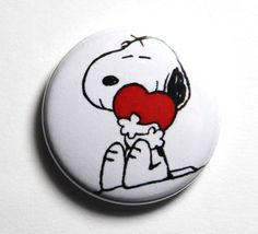 Snoopy Love I love Snoopy  1 inch PIN or MAGNET by snottub on Etsy, $1.25