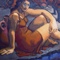By The Brook, figurative painting of woman, Marie Fox