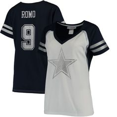 Tony Romo Dallas Cowboys Women's Player Name & Number V-Neck T-Shirt - White/Navy - $39.99
