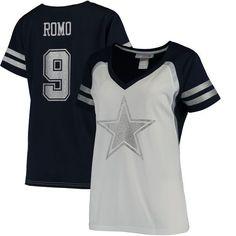 Tony Romo Dallas Cowboys Women's Player Name & Number V-Neck T-Shirt - White/Navy - $64.99