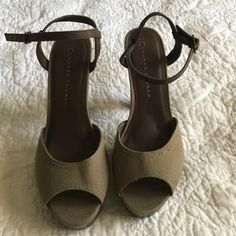 Olive green with brown strap heels Lauren Conrad 4 1/2 inch heel, open toe, ankle strap heels. Only worn once, excellent condition Lauren conrad Shoes Heels