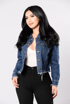 - Available in Dark - Cropped Denim Jacket - Frayed Trim - Long Sleeve - 97% Cotton 3% Tencel