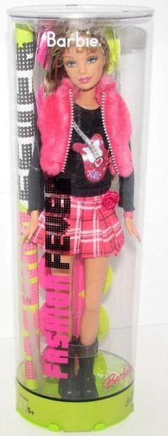 Fashion Fever Barbie Fashionista Barbie Guitar Tee w/Plaid Mini Skirt H7472/NRFB #Mattel #Dolls