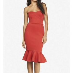 Express Red dress Mermaid style bodice.  Never worn! Express Dresses Strapless