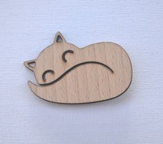 Laser cut wood brooch mr fox via Etsy