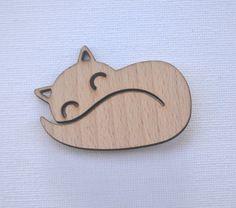 Laser cut wood brooch mr fox via Etsy