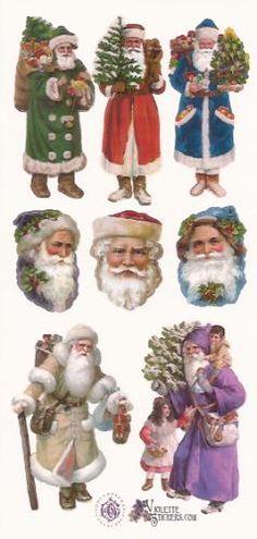 Kerstmannen kleurrijk poezieplaatjes Stickers P06