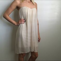 Strapless Cream Nude Dress Nude/cream strapless dress, very flowy, soft & comfy! Worn once. Love Culture Dresses Strapless