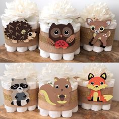 Rustic Woodland Mini Diaper Cakes Set of 3 for by BuzzyDiaperCakes
