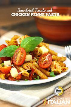 Sun Dried Tomato and Chicken Penne Pasta from theslowroasteditalian.com #recipe