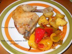 Ecco il piatto unico per saziarsi con gusto e abbondanza. #Pollo, #patate e #peperoni fritti con aromi. Trasborda di gusto. http://blog.cookaround.com/vincenzina52/pollo-patate-e-peperoni-fritti/