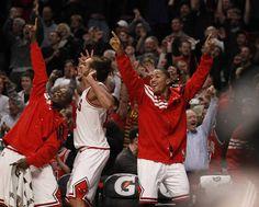 Great pic of #Bulls players...Derrick Rose the MVP, Joakim Noah and Ronnie Brewer