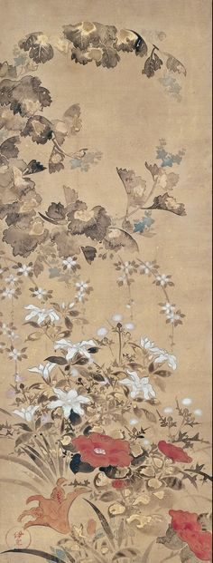Flowers of Summer. Tawaraya Sōsetsu (俵屋宗雪; fl. 17th century). Edo period, first half of the 17th century. Japanese hanging scroll; ink, color, and gold on paper. Minneapolis Institute of Art.