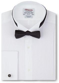Slim Fit Pleated Wing Collar Tuxedo Shirt