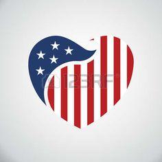 heart: American flag inside heart. Vector logo