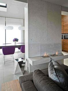 betonwand kamin glas rahmen polstermbel - Kamin Villa Design