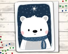 "Sweet polar bear Christmas card! Outside blank Inside reads: ""Have yourself a beary little Christmas"" Fun Usual Suspects cards are carefully printed on thick, high-quality card stock and have rounded"
