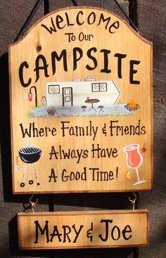 Signe de Camper personnalisé pour Camp ou RV Motorhome lac Campfire personnalisé panneaux Camping Grill boisson 2 nom conseils