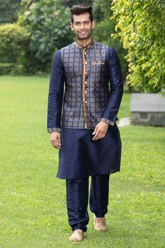 Traditional Blue Kurta with Jacket Set Wedding Dresses Men Indian, Wedding Dress Men, Pathani For Men, Kurta Pajama Men, Waistcoat Men, Bollywood Designer Sarees, Royal Dresses, Men Online, Fashion Story