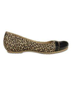 4e978c70e Crocs Black   Gold Leopard Cap-Toe Flat