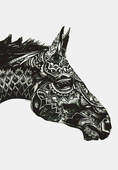 animal, art, black and white, drawing, horse, mandala