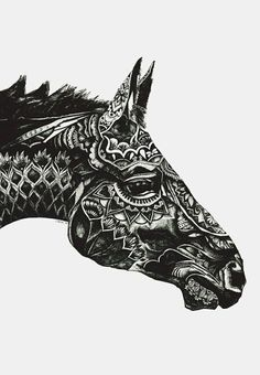 animal, art, black and white, drawing, horse, mandala