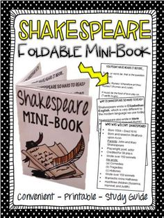 Are you short on time? Are your students tired of writing notes? Give your students this mini-book, so that students can easily store it in their binders as reference for an introduction to Shakespeare.