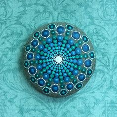 Jewel Drop Mandala Painted Stone sea urchin deep by ElspethMcLean