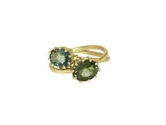 Entwined 18K Gold Green Tourmaline Ring