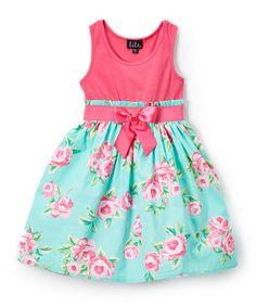 Look what I found on #zulily! Fuchsia & Mint Bouquet Sleeveless Dress - Girls #zulilyfinds