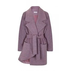 Juan Carlos Pajares Dusty Rose Asymmetrical Wool Coat ($428) ❤ liked on Polyvore featuring outerwear, coats, dusty pink, long belted coat, purple coats, longline coat, long coat and wrap coat
