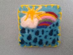 Needle felted brooch, handmade unique gift -sunshine and showers