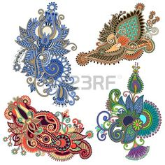 original hand draw line art ornate flower design. Ukrainian traditional style Stock Vector