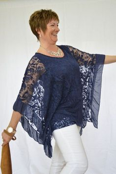 Floral Net Batwing Top – Mandys Heaven - Womens Fashion Boutique, Fashion Over 40 50 Fashion, Fashion Over 40, Look Fashion, Plus Size Fashion, Fashion Outfits, Womens Fashion, Batwing Top, Diy Clothes, Fashion Boutique