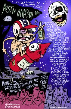 Stereogum & Exploding In Sound's Austin Invasion 2015   Friday, March 20, 2015   11am-2am   Hole in the Wall: 2538 Guadalupe St., Austin, TX 78705   Unofficial showcase with 30+ bands/artists on 2 stages; free to the public   Details: http://www.stereogum.com/1785139/stereogum-exploding-in-sounds-austin-invasion-2015-details/news/   Facebook RSVP: https://www.facebook.com/events/1559911497617537/