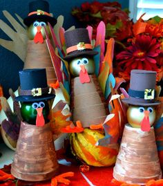 Spiffy Styrofoam Cup Turkeys are super thrifty Thanksgiving crafts that double as adorable decorations! Everyone in the family could make their own! | AllFreeKidsCrafts.com