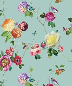 Arthouse Opera Charmed Butterfly Bird Floral Rose Teal Multi Wallpaper - 889800