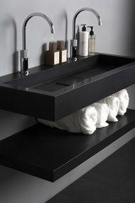 Attrayant Pedestal Sink Bathroom Design Ideas With Black Modern Bathroom Sinks And  Towel Rack