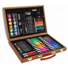 Style Asia 86 Piece Art Set in Wooden Case, Multicolor