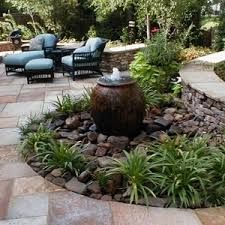 Image result for small garden with fountain